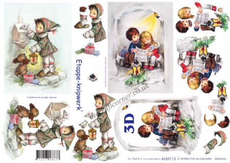 Christmas Children Designs 3d Decoupage Sheet